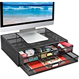Monitor Stand Riser with Drawer - Mesh Metal Desk Organizer PC  Laptop  Notebook  Printer Holder with Pull Out Storage Drawer