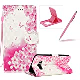 Rope Leather Case for Samsung Galaxy J510 2016,Stand Wallet Flip Case for Samsung Galaxy J510 2016,Herzzer Bookstyle Stylish 3D Pink Butterfly Pattern Magnetic PU Leather with Soft Silicone Inner Back Case for Samsung Galaxy J510 2016