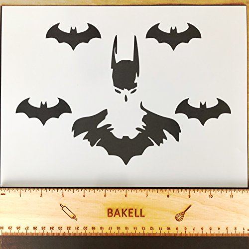 Batman & Bats Stencil Pattern, 12 x 9 Inches   Decorating and Crafting Food Safe Stencils from Bakell ()
