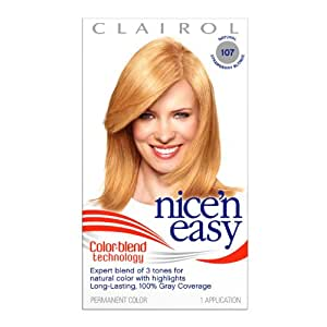 Clairol Nice N Easy Permanent Hair Color, Strawberry Blonde, 107 - Kit