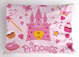 Ambesonne Kids Pillow Sham, Little Princess Tiara Slippers Castle Butterfly Heart Lollipop Wand Cupcake, Decorative Standard Size Printed Pillowcase, 26 X 20 inches, Pink White Yellow