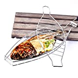 Mexidi Fish Barbecue Basket, Portable FDA Approved 430 Stainless Steel BBQ Grilling Basket Rack with Removable Wooden Handle For Kitchen,Outdoors,Tailgates, Backyard Parties (Silver)