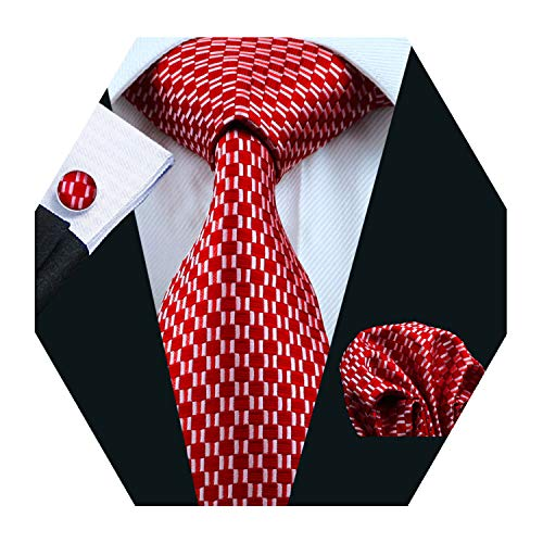 YOHOWA Red Checked Tie Set Mens Silk Tie Pocket Square Cufflinks