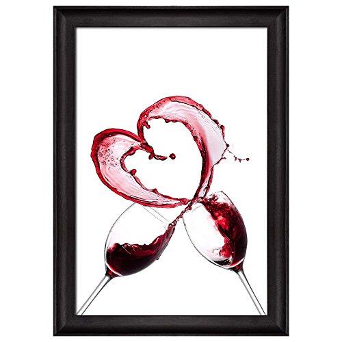 Splashing Red Wine in Glass Forming a Heart Framed Art Print