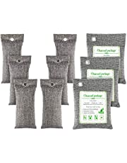 FOYO Bamboo Charcoal Bags Activated Charcoal Odor Absorber Moisture Absorber Car Odor Eliminators for Home Charcoal Bags Odor Absorber 9 Pack (200gX3+75gX6)