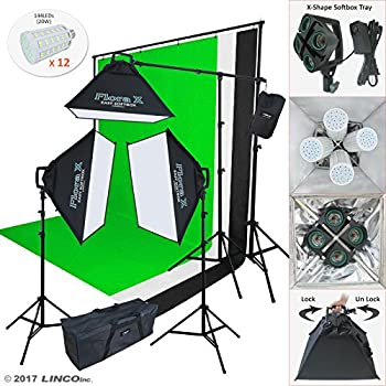 Linco Lincostore Photo Studio Lighting Kit With 3 Color Muslin Backdrop Stand Photography Flora X Fluorescent 4-Socket Light Bank and Auto Pop-Up Softbox -- Only takes 3 seconds to Set-up AM173