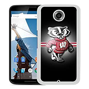 Custom Luxury Cover Case With Ncaa Big Ten Conference Football Wisconsin Badgers 13 White Google Nexus 6 Case