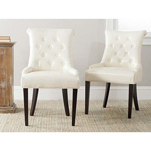 Bicast Leather Arm Dining Chairs - Safavieh Mercer Collection Bowie Dining Chairs, Cream, Set of 2