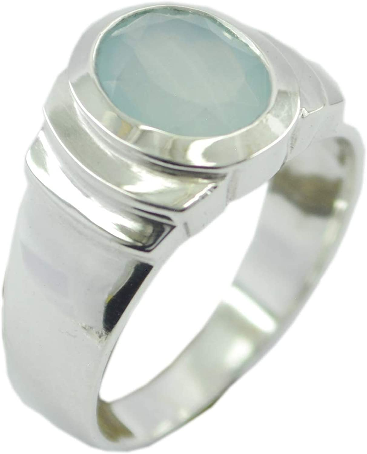 Chalcedony Blue Gemstone Silver Ring Jaipur 925 Sterling Silver fine Natural Blue Ring