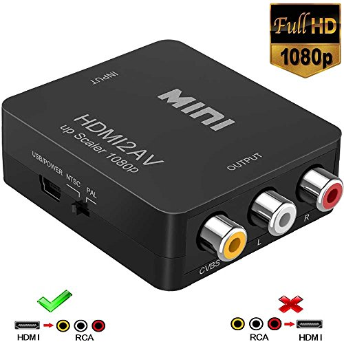HDMI to RCA, 1080p HDMI to AV 3RCA CVBs Composite Video Audio Converter Adapter Supports PAL/NTSC for TV Stick, Roku, Chromecast, Apple TV, PC, Laptop, Xbox, HDTV, DVD-Black (Hdmi To Long Rca)