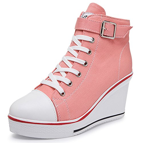 Pink Wedges Platforms - Smilety Women's Sneaker Fashion Canvas High-Heeled Shoes Lace UP Wedge Pump Shoes (8.5 B(M) US, Pink)