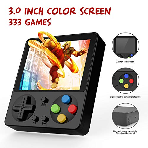 Ruihoxin Handheld Game Console, 333 Classic Games 3.0 inch HD LCD Screen Portable Video Game, Retro Game Console can be Played on TV, Good Gift for Children and Adults, Gifts. (Black) (Handheld Lcd Game)