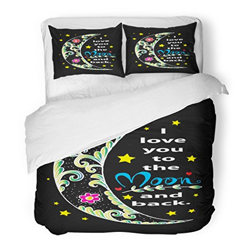 SanChic Duvet Cover Set Abstract I Love You to The Moon Back Amour Black Cartoon Contour Decorative Bedding Set Pillow Sham Twin Size by SanChic