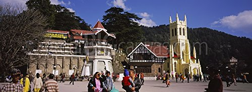 Group of people walking on a road, Mall Road, Christ Church, The Ridge, Jakhu Hill, Shimla, Himachal Pradesh, India Gallery-Wrapped Canvas