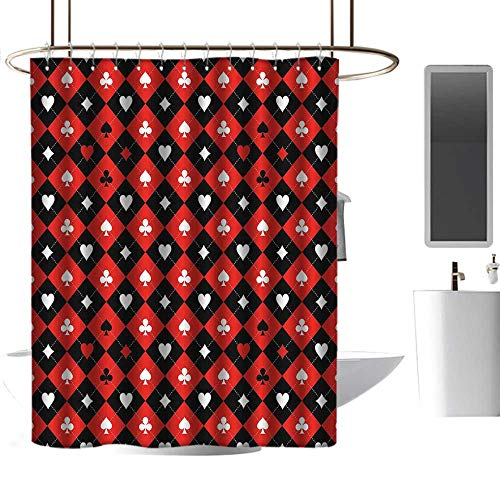coolteey Shower Curtains Navy and Grey Poker Tournament Decorations,Card Suit Chess Board Classic Checkered Pattern Symbols,Red Black White,W108 x L72,Shower Curtain for Girls Bathroom ()