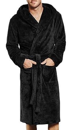 101659d270 Ptyhk RG Men s Fleece Bathrobe Long Shawl Collar Plush Robe Plush Shawl  Kimono Bathrobe Black XS
