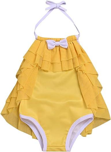 QinMMROPA bañador Natacion para niña bebé, Trajes de baño Volantes bañador pañal niña bañador Body de niños niñas Bebes Amarillo 18-24 Meses: Amazon.es: Ropa y accesorios