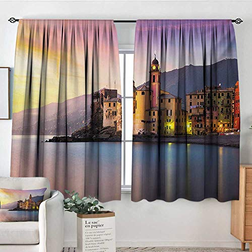 Mozenou Cityscape Custom Curtains Old Mediterranean Town Camogli of Italy at Sunrise Colorful Scenic Landscape Customized Curtains 72