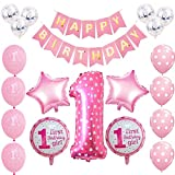 Toupons 1st Birthday Decorations for Baby Girl, Pink Happy Birthday Banner Latex and Foil Balloons Kit(Pink)