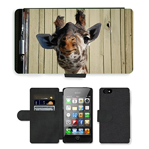 Just Phone Cases PU Leather Flip Custodia Protettiva Case Cover per // M00128464 Girafe Zoo Funny Face animal sauvage // Apple iPhone 4 4S 4G