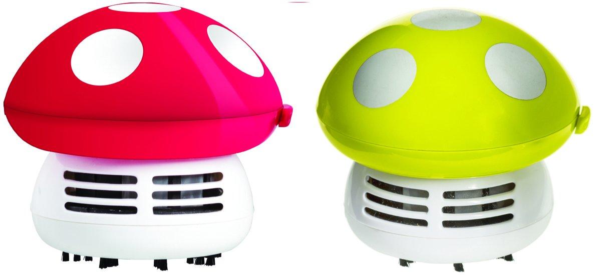 Imperial Home Cute Mushroom Handheld Vacuum - Crumbs Dust Mini Vacuum or Desk Vacuum (2, Fuchsia & Green)
