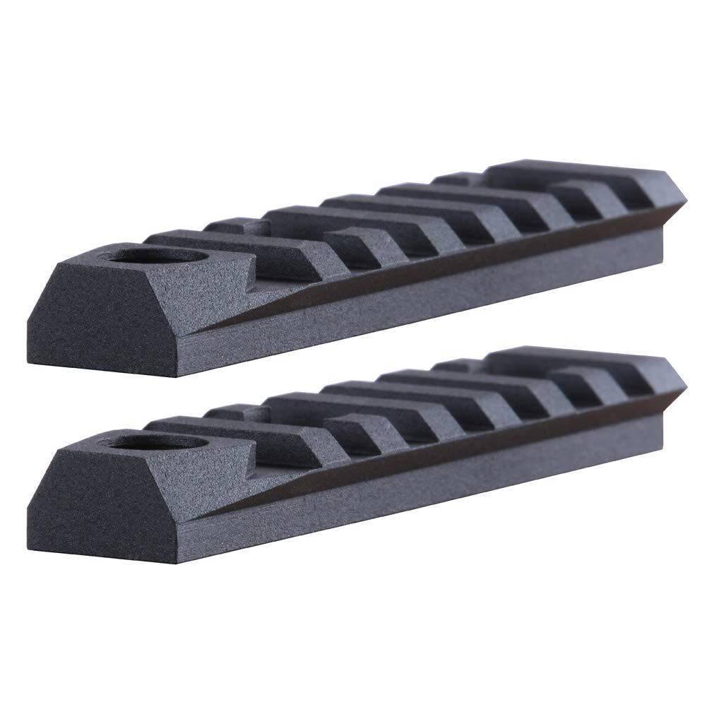TuFok M-lok Picatinny Rail Section - Picatinny Rail Adapter,Mlok Rail Mount,with 3/8'' QD Sling Swivel Socket (7-Slot,Aluminum,Black,2 Pack) by TuFok