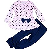 SODIAL(R) Girls Clothes Sets Pink Bow Polka Dot Ruffle T-shirt+ Slim Pants 2pcs Full Sleeve Cotton Kids Wear 5T(130CM)