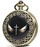 SEWOR Fashion Bronze Enamel Quartz Cross Wings Pocket Watch Black Dial + Leather Gift Box