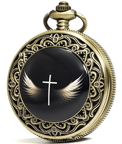 Dial Type Enamel (SEWOR Fashion Bronze Quartz Enamel Painting Pocket Watch Black Dial + Leather Gift Box (Cross Wings))