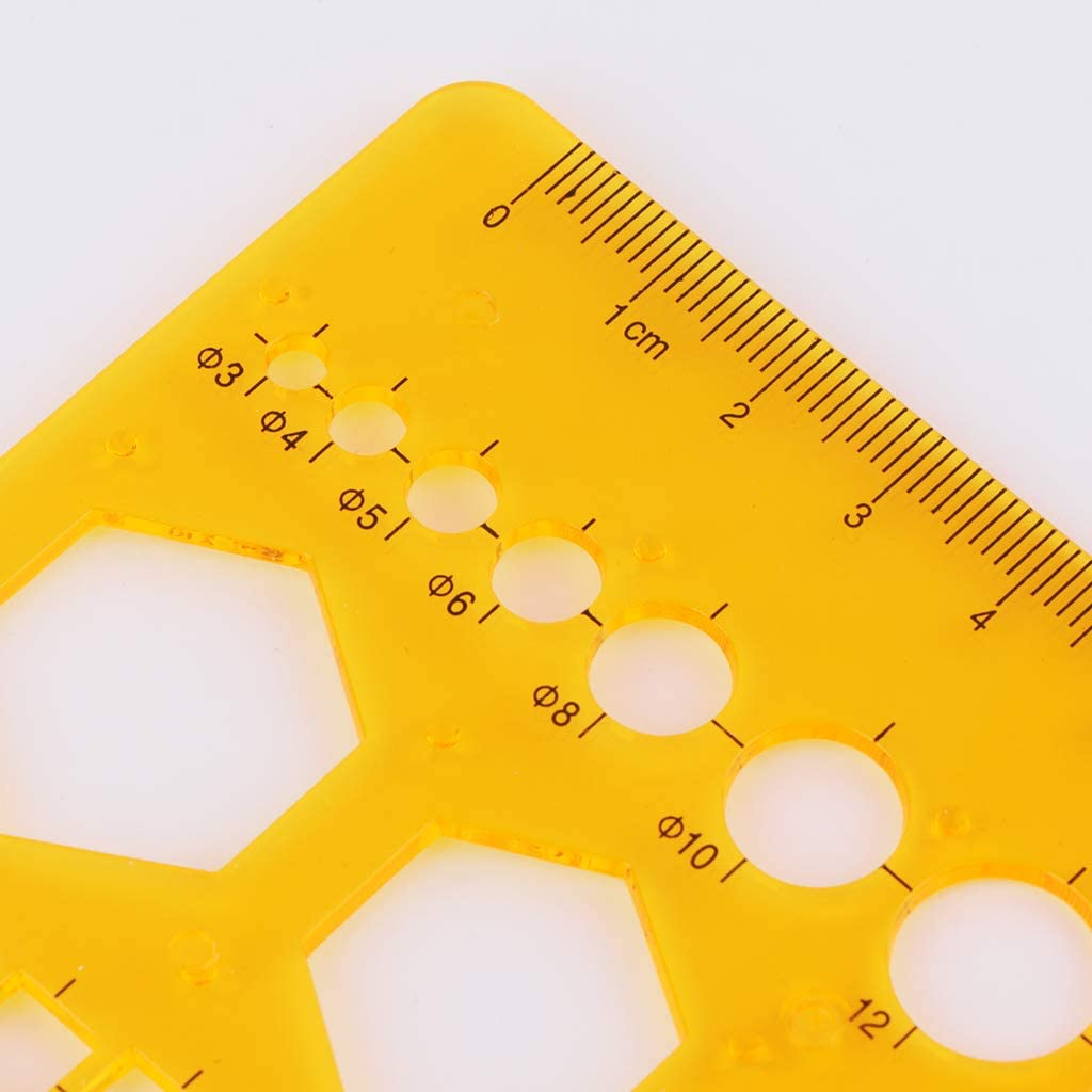 Ruda righello K resina cerchi quadrati triangolo geometrico modello stencil strumento di misurazione per Student Ofiicer insegnante