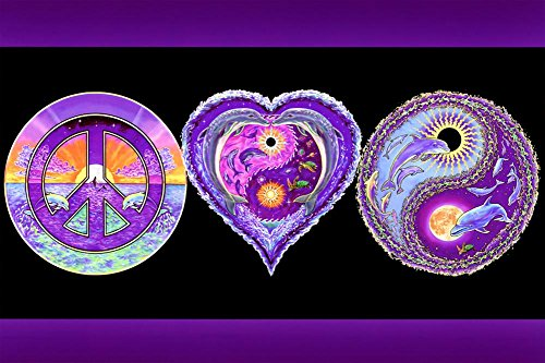 - Peace Love and Happiness Blacklight Poster 36 x 24in