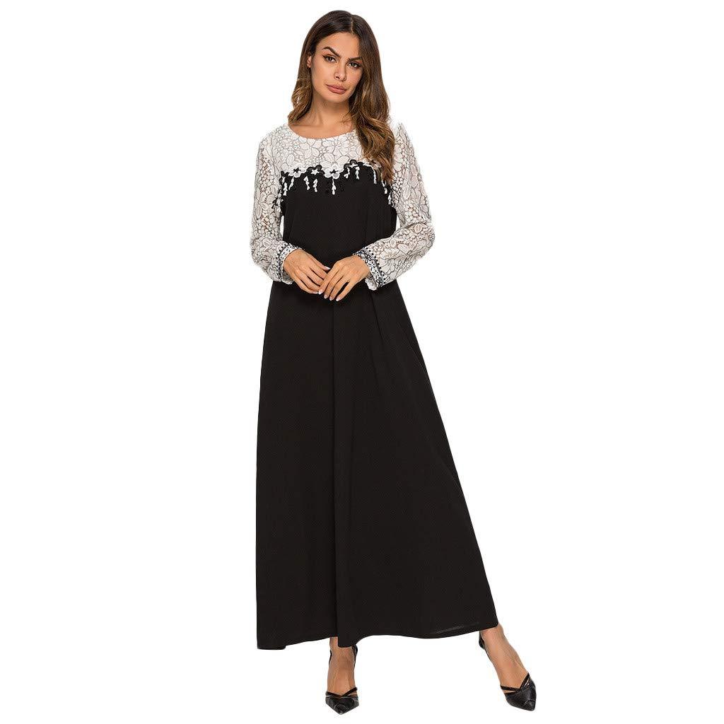 PENGY Women Muslim Plus Szie Lace Splice Longsleeve Dress Islam Jilbab Dress Longsleeve Dress Embroidered