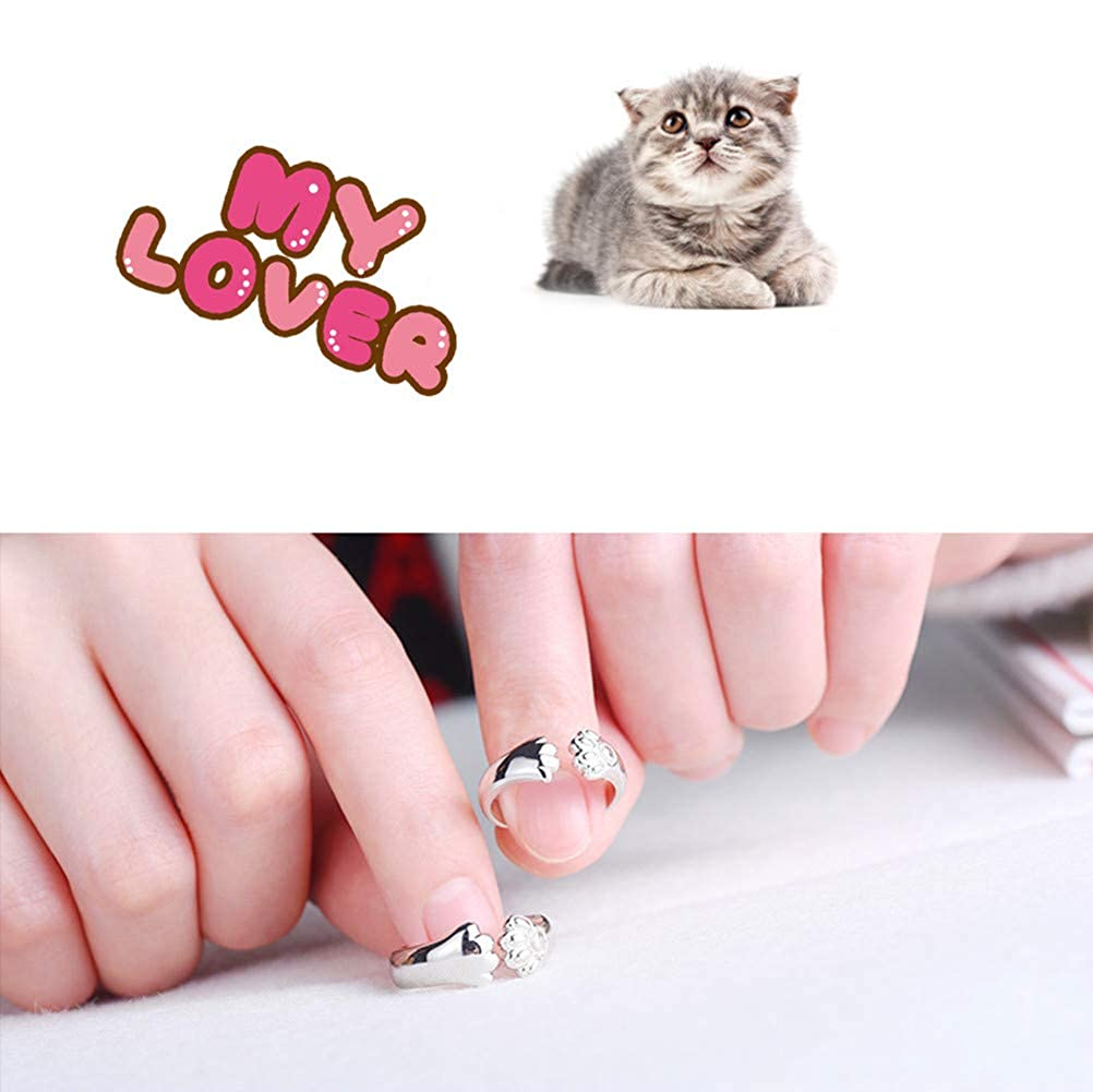 Adjustable Open Cat Ring Lover Gift Platinum Plated Cat Ring Dainty Kitty Jewelry Cat Ring for Women or Girls Gift Tiny Cat Ring