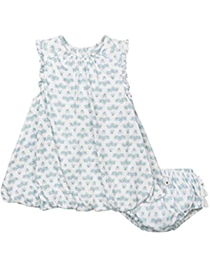 Baby Girls' Organic Sleeveless Bubble Dress and Diaper Cover