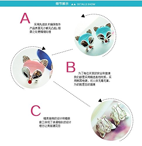 Generic The new fashion personality earrings women girls lady Korean temperament simple cute little fox animal ear jewelry earrings Fang Guoping by Generic (Image #2)