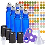 bottle 6 Glass Stainless Steel Roller Bottles - 6 Pack 10ml - Free Roller Bottle Opener Key Tool & 192 Oil Bottle Cap Sticker Labels - 1 Free Funnel And Extra Roll-On Ball