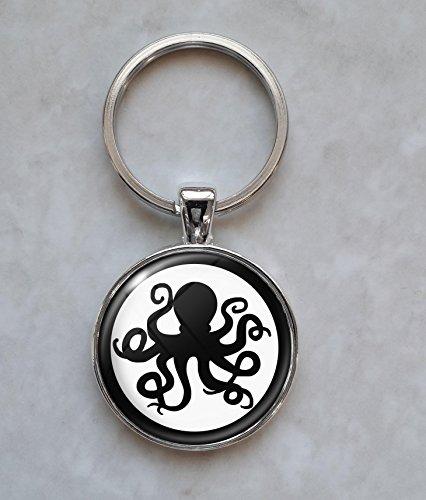 Octopus Silhouette Keychain (Silhouette Metal Keychain)
