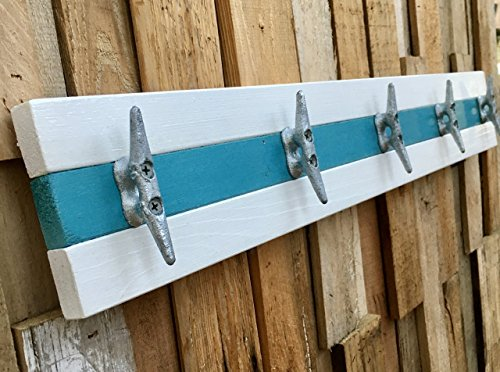 White and Teal Boat Cleat Coat Rack, Towel Rack, Hat Rack, Book Bag Rack, or Key Rack ()