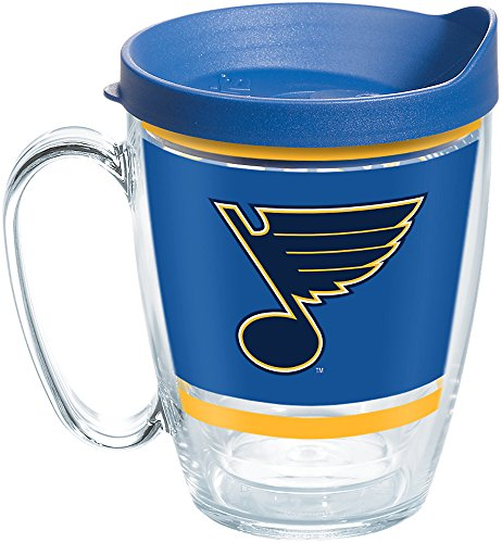 - Tervis 1259663 NHL St. Louis Legend Insulated Tumbler with Wrap and Blue Lid, 16oz Mug, Clear