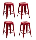 Duhome 4 pcs 24'' Metal Chairs Tolix Style Stackable Dining Stools Indoor Outdoor Restaurant Cafe Industrial Design (Red)