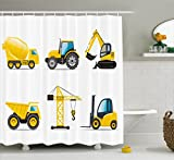 Boy's Room Shower Curtain by Lunarable, Cartoon Heavy Machinery Truck Crane Digger Mixer Tractor Construction Print, Fabric Bathroom Decor Set with Hooks, 70 Inches, Black Yellow