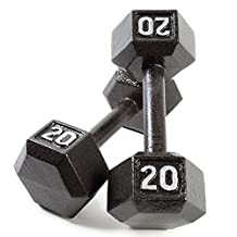 CAP Barbell Cast Iron Hex Dumbbell (Pair), Black, 20 lb