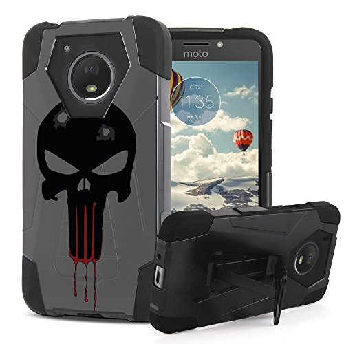 Moto E4 Case, Trishield Gear Dual layer Hard Shell Soft Silicone Interior Hybrid Rugged Phone Cover With Built In Kickstand For Moto E 4th Gen, XT1723 - Punisher Spartan (Spartan Shield Design)