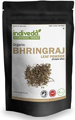 Indiveda Organic Bhringraj (Eclipta Alba) Powder for Hair Care, 100 Grams (3.5 Ounce)*