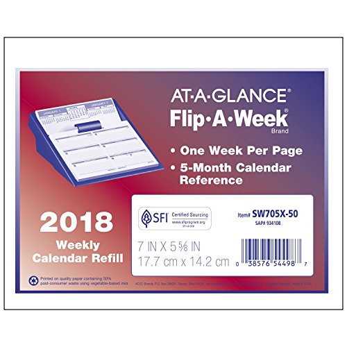 "AT-A-GLANCE Weekly Refill, January 2018 - December 2018, 5-5/8"" x 7"", Flip-A-Week (SW705X50)"