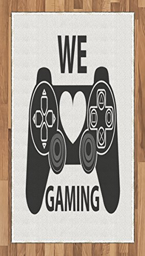 Gamer Area Rug by Lunarable, We Love Gaming Quote Greyscale Controller Design with Heart in the Middle, Flat Woven Accent Rug for Living Room Bedroom Dining Room, 2.6 x 5 FT, Charcoal Grey White by Lunarable