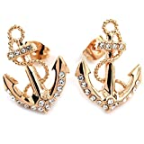 FC JORY Rose Gold GP Crystal Diamante Anchor Women Earrings Studs