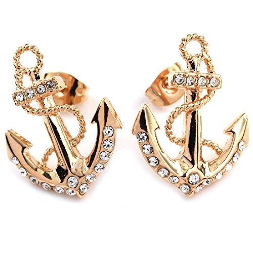 FC JORY Rose Gold GP Crystal Diamante Anchor Women Earrings ()