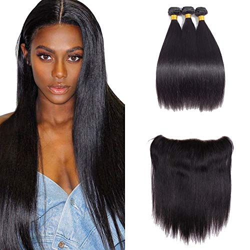 - Brazilian Straight Hair 3 Bundles with Frontal 13x4 Ear to Ear Lace Frontal Closure Human Hair Frontal and Bundles Natural Color (16 18 20with 14, natural color)