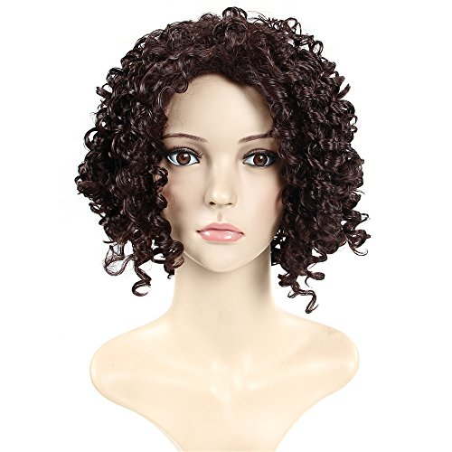 [Afro Girls Brazilian Women Noodles Wavy Hair Loose Jerry Curly Middle Long Wig Brown] (Noodle Cosplay Costume)